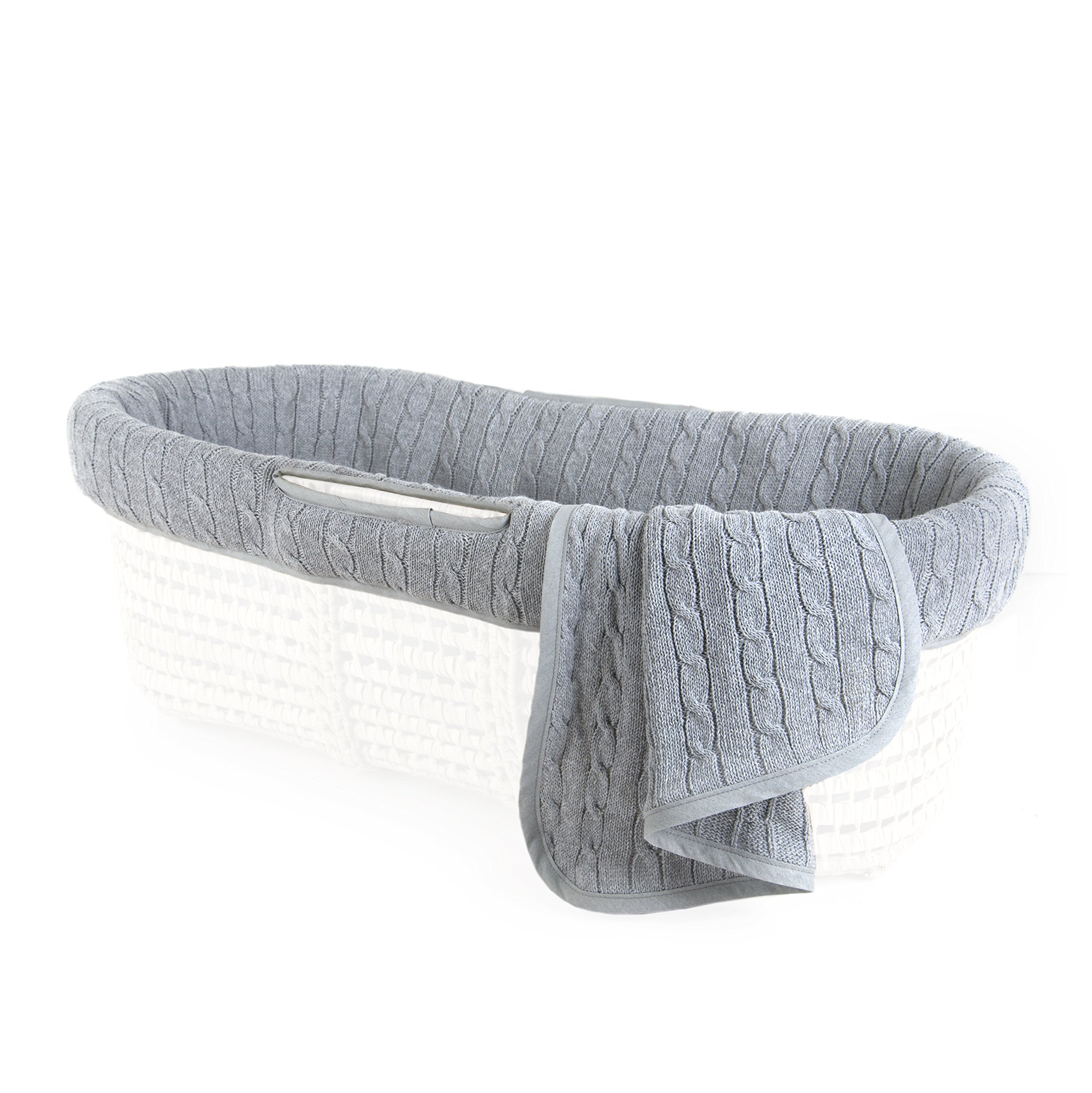 Tadpoles Cable Knit Moses Basket Bedding Only Set, Grey