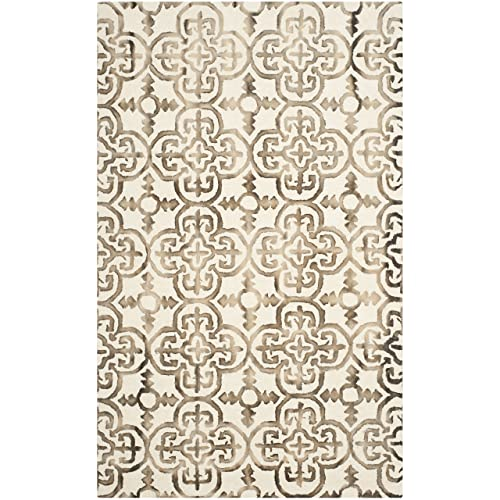 Safavieh Dip Dye Collection DDY711F Handmade Moroccan Geometric Watercolor Ivory and Brown Wool Area Rug 5 x 8