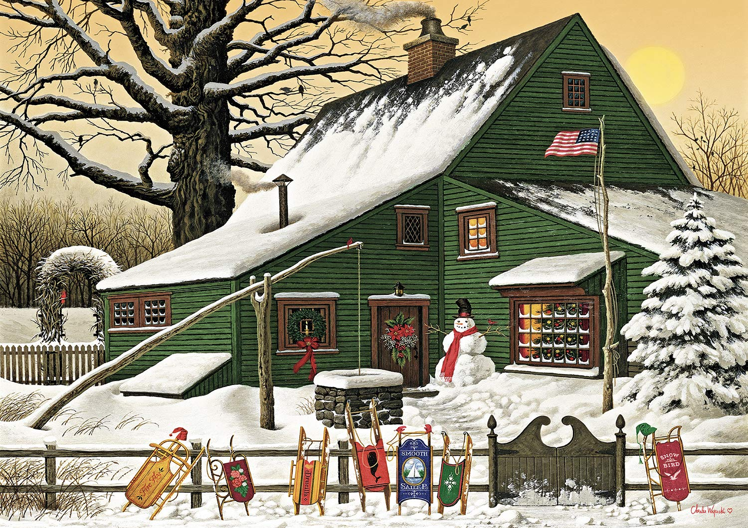 Buffalo Games Charles Wysocki-Cocoa Break at The Copperfields-500 Piece Jigsaw Puzzle, Multi 3722