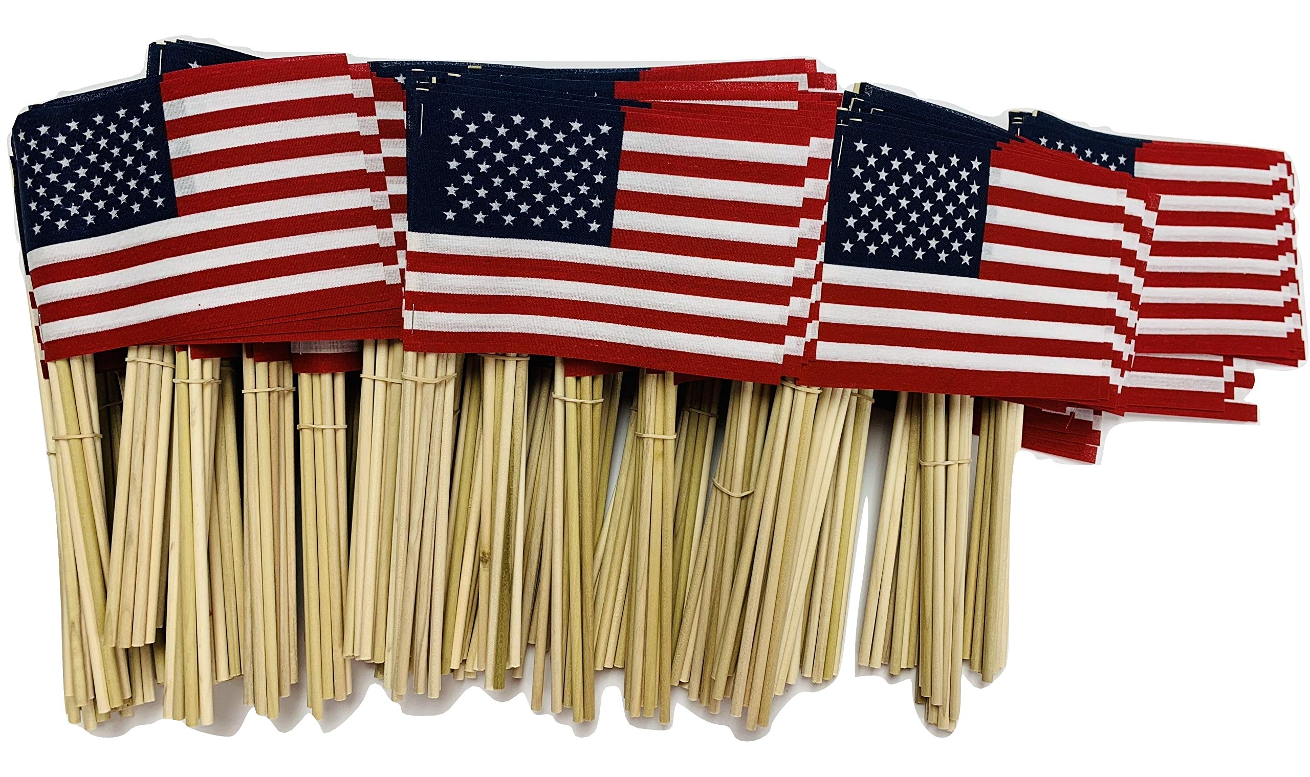 WindStrong® 4x6 Inch US American Hand Held Stick Flags No Tip on 10 Inch Dowel for Schools and Business Made in The USA (500)