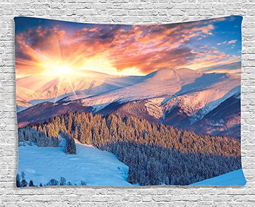 Ambesonne Mountain Tapestry, Mountain View with Colorful Winter Sunrise on The Top Nature Art, Wide Wall Hanging for Bedroom Living Room Dorm, 80 X 60 , Yellow White