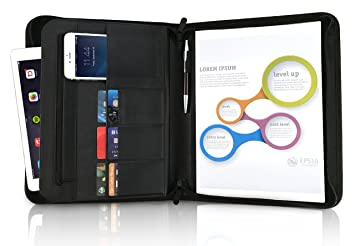 zippered padfolio portfolio rfid blocking leather folders with legal writing pad pen cards