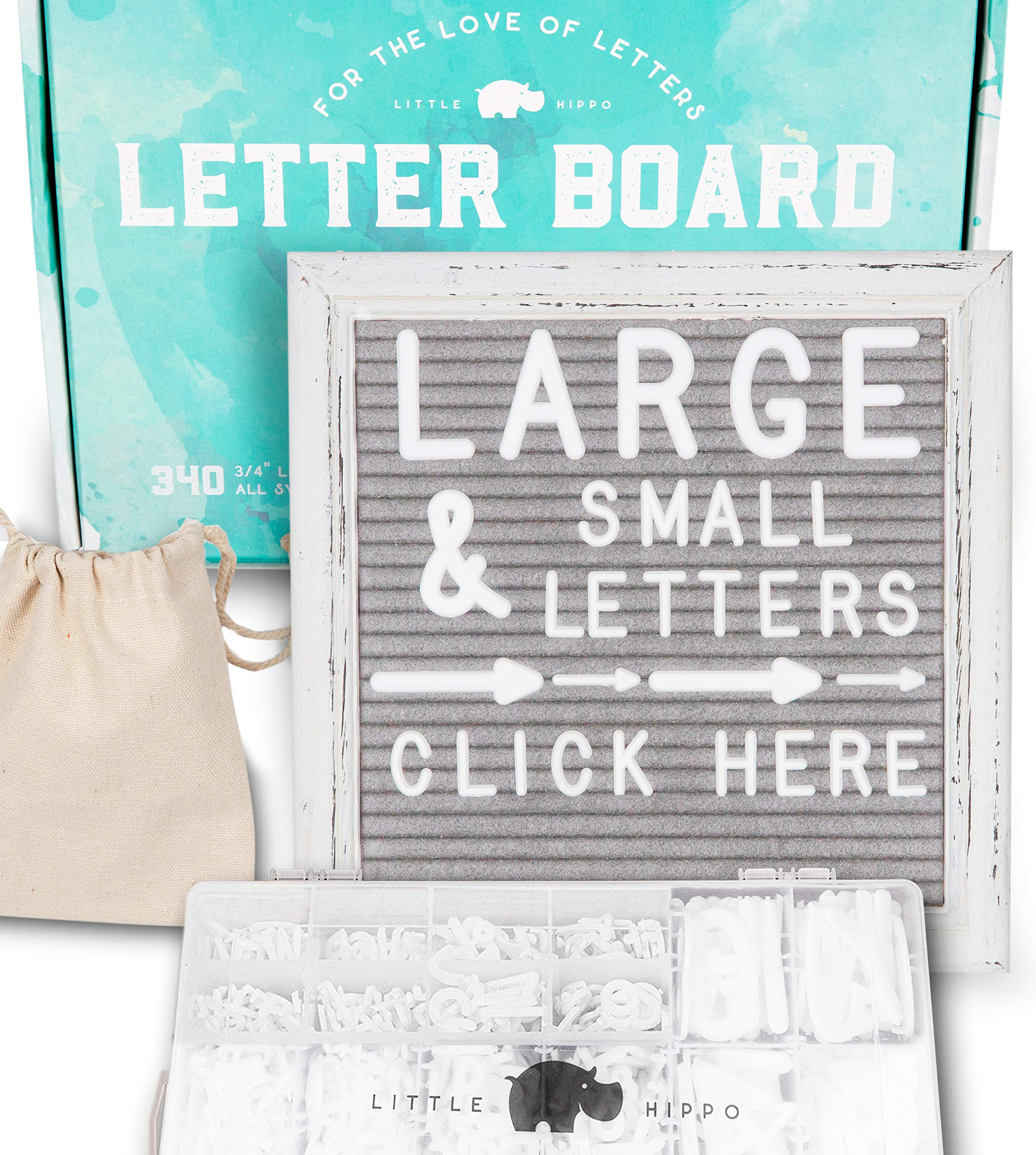 Felt Letter Board 10x10 | +690 PRE-Cut Letters +Stand +Sorting Tray +Cursive Words | Vintage Farmhouse Letterboard with Letters, Rustic Letter Boards, Word Board, Message Board, Sign (Gray)