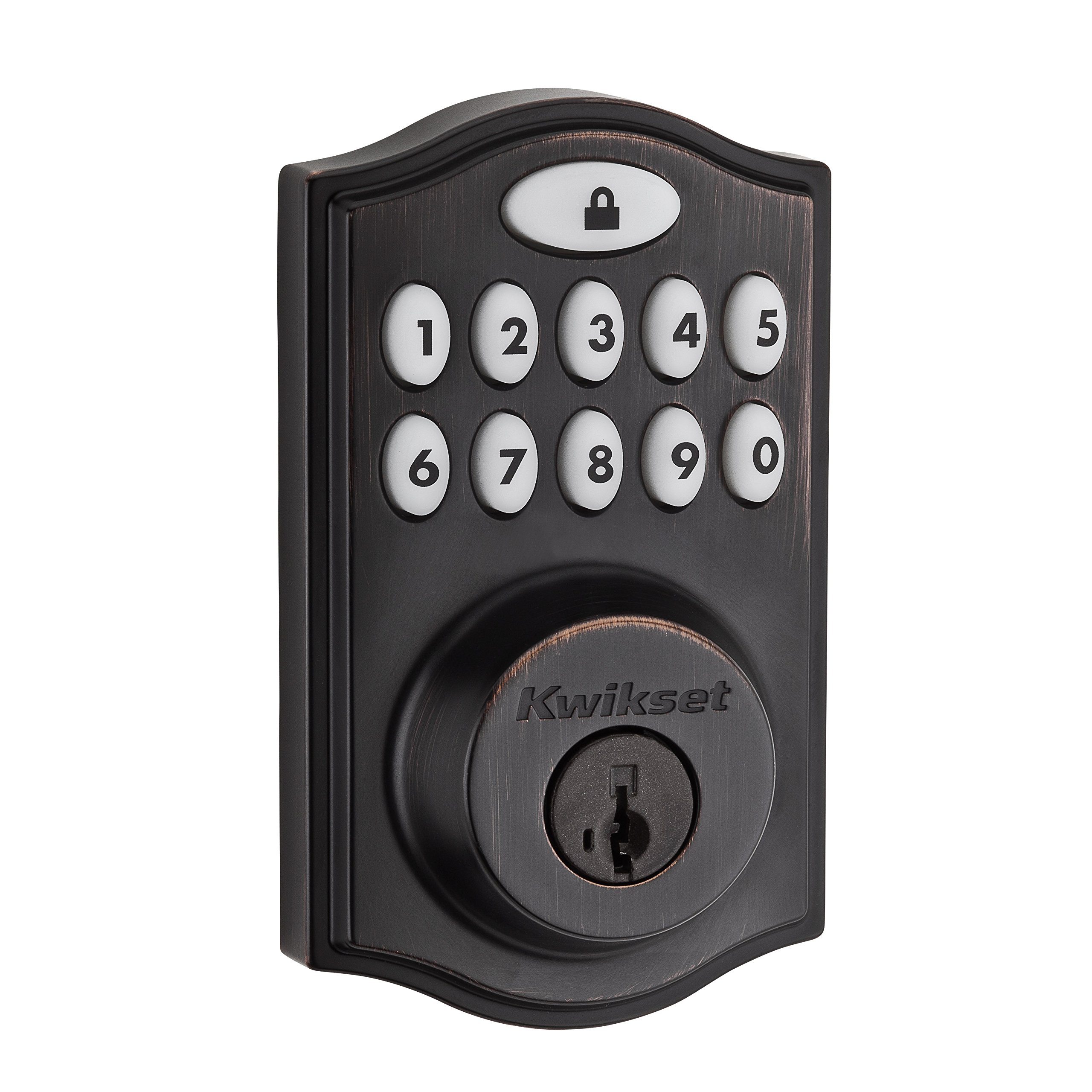 Kwikset 99140-009 SmartCode ZigBee Touchpad Smart Lock works with Echo Plus & Alexa, featuring SmartKey, Venetian Bronze by Kwikset