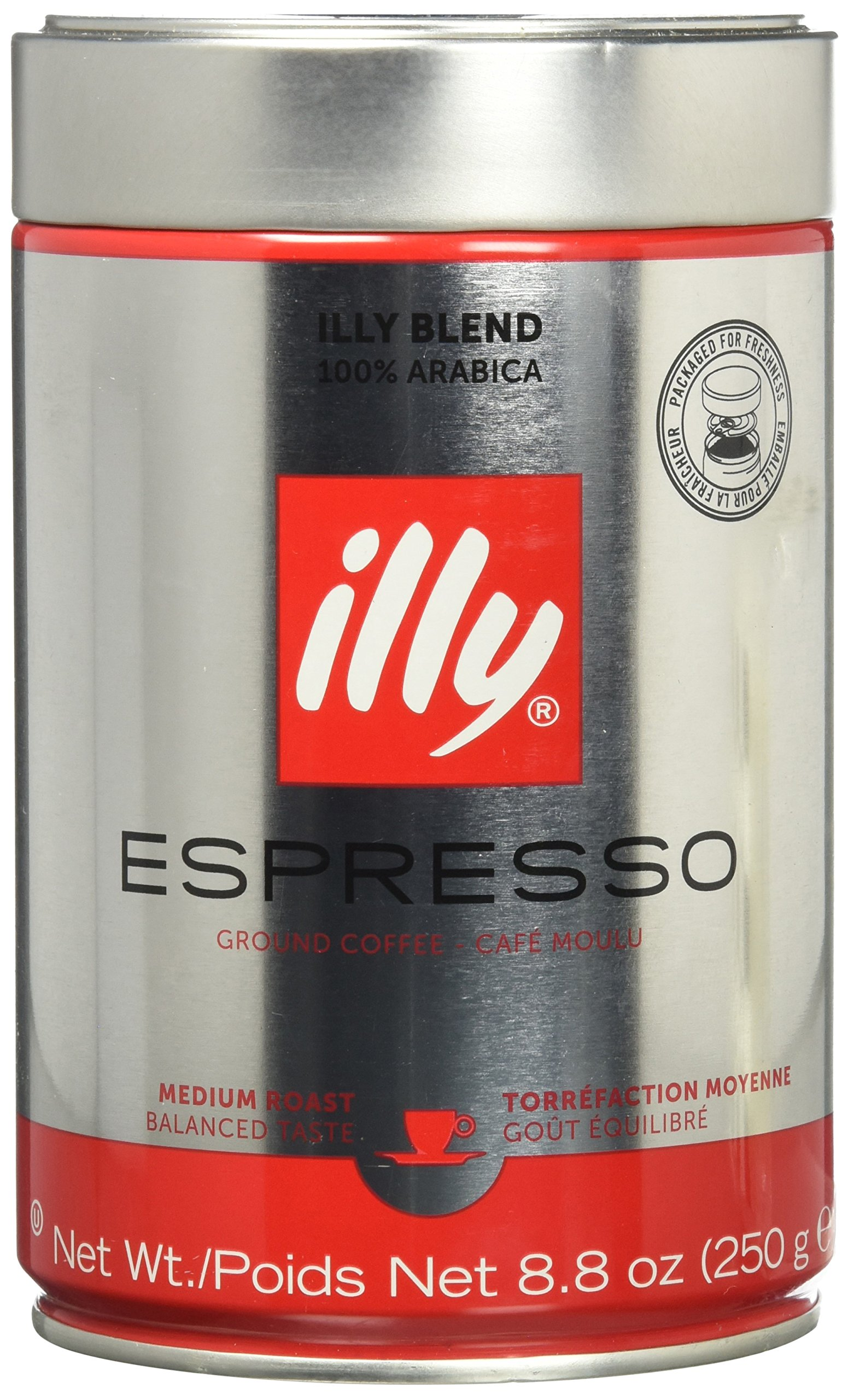 illy Coffee, Espresso Ground, Medium Roast, 100% Arabica Bean Signature Italian Blend, Premium Gourmet Roast Pressurized Fresh 8.8 Ounce Tin, Espresso Machine Preparations.