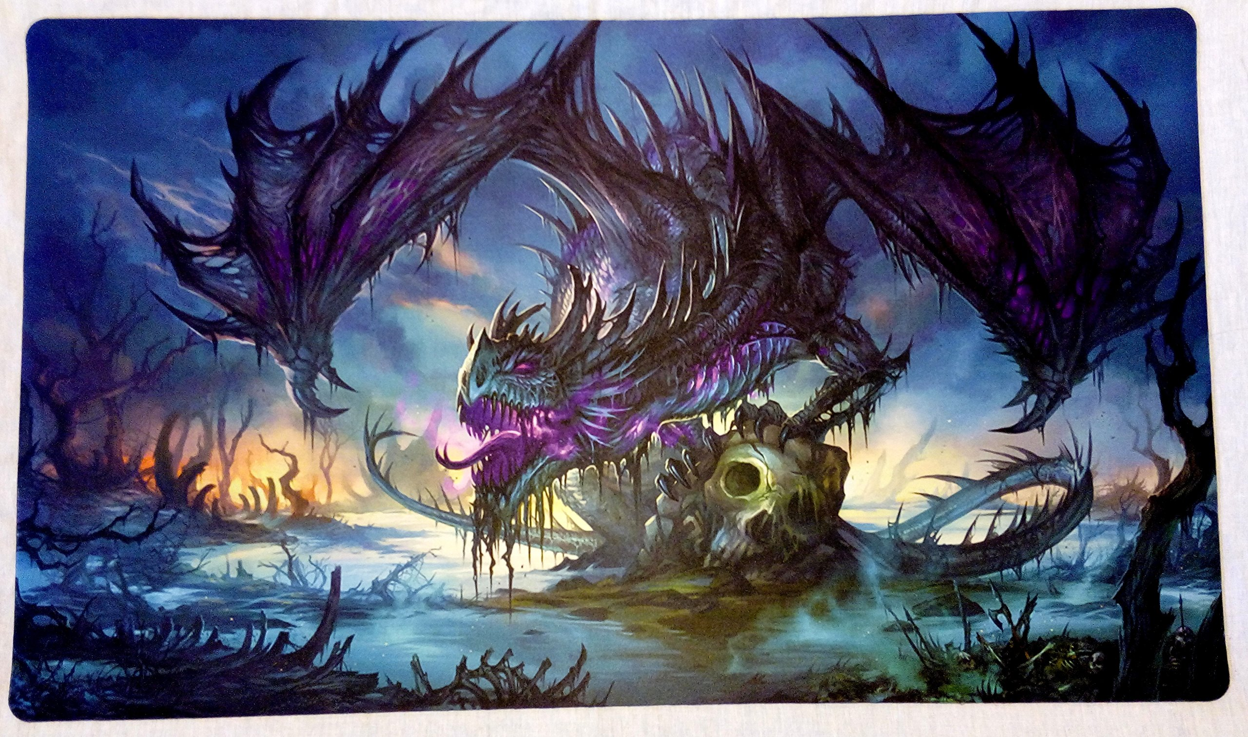 Masters of trade Zombie Dragon TCG playmat, gamemat 24'' wide 14'' tall for trading card game smooth cloth surface rubber base by Masters of trade (Image #1)