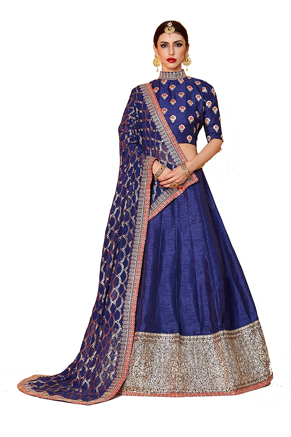 d4df34b6ab7f59 SK Clothing Bridal Collection Art Silk Navy blue butti work lehenga choli  set for women(AD608, Free size): Amazon.in: Clothing & Accessories