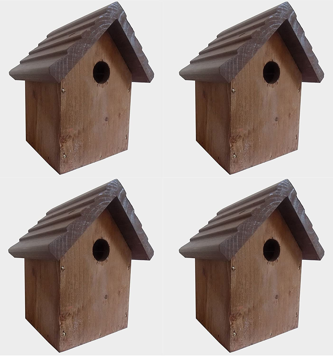 Set of 4 x Wooden Bird Boxes - Bird Box - Bird Houses - Wild Bird Home Rudding Wood
