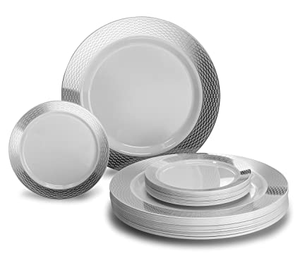 """ OCCASIONS"" 50 Pack, Premium Disposable Plastic plates (25 x 10.5'' Dinner + 25 x 6'' Cake plates) Diamond White/Silver"
