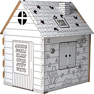Cardboard Playhouse, Coloring Playhouse for Indoor & Outdoor Fun for Kids With Operable Door & Window, Improve Painting Skills & Learn Numbers And The Alphabet & Nature Objects –39