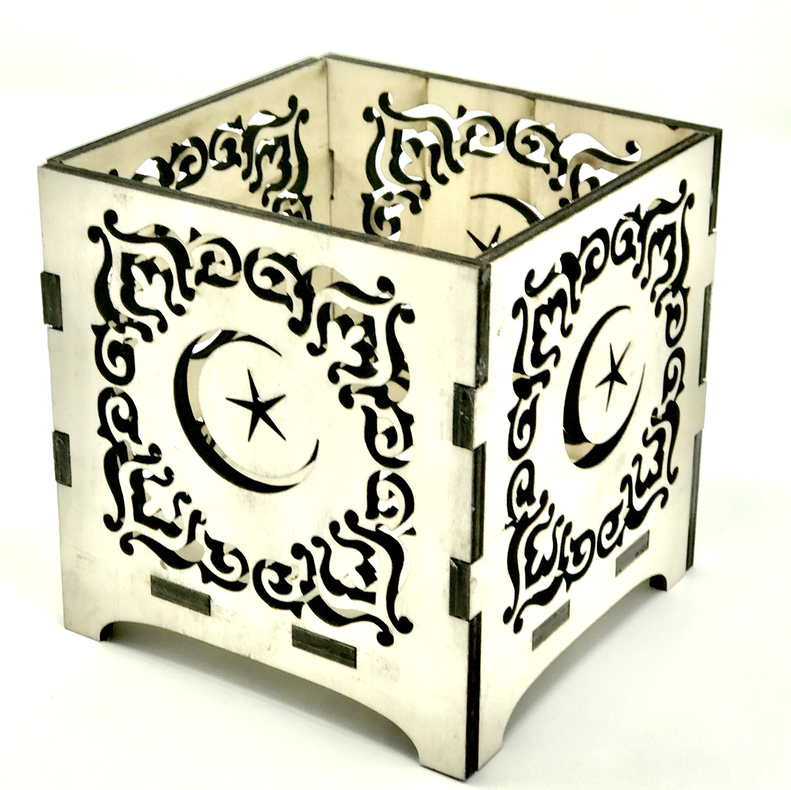 Islamic Design Laser Cut Centerpiece or Gift Box for Ramadan , Eid, and Wedding, Baby Shower Parties. Used For Candles, Flowers or Candy. Natural wood color 4.5'' X 4'' X 4''.