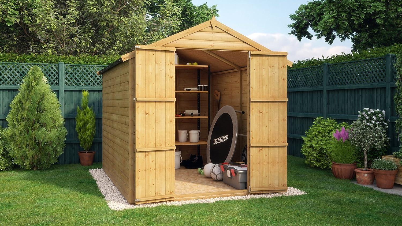 Cobertizo de madera, sin ventana, doble puerta, tablones de 12 mm, medidas 2, 4 x 1, 8 m: Amazon.es: Jardín