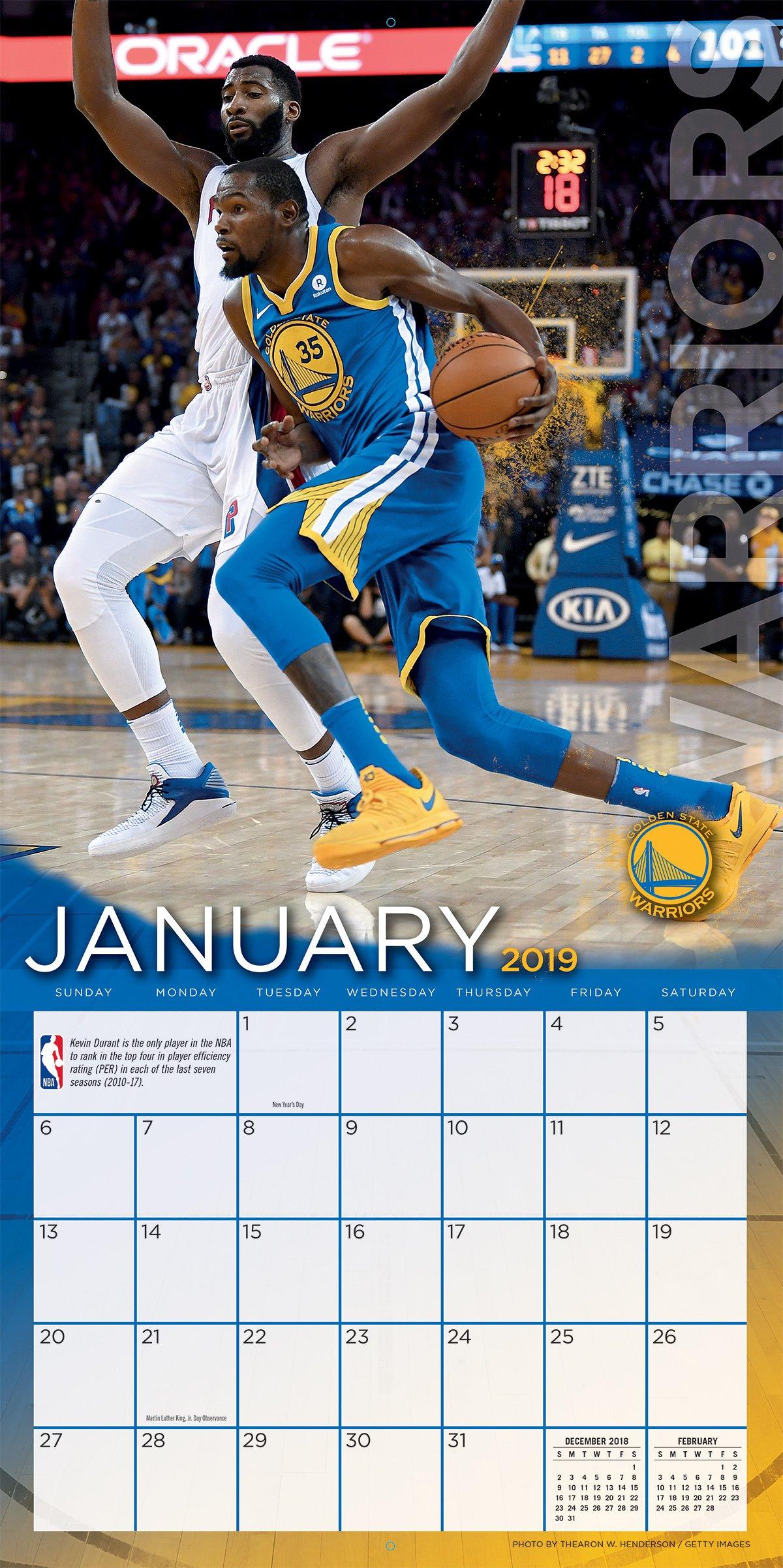 Turner 1 Sport Golden State Warriors 2019 12X12 Team Wall Calendar Office Wall Calendar (19998011878)
