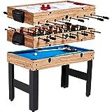 Evelove Table Game 3-In-1 Multi Combo Game Table Foosball Soccer Billiards Pool