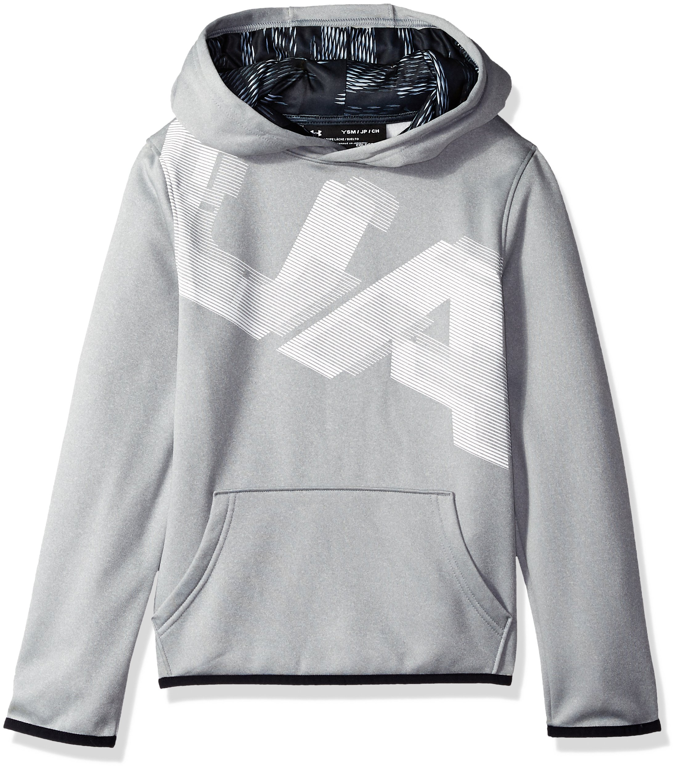 Under Armour Boys Fleece Highlight Printed Hoodie, Steel (035)/White, Youth X-Small by Under Armour
