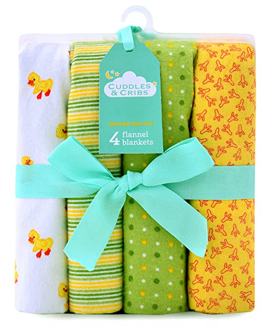 Amazon.com  Cuddles   Cribs Cotton Flannel Receiving Blankets - 4 ... 2808f4637