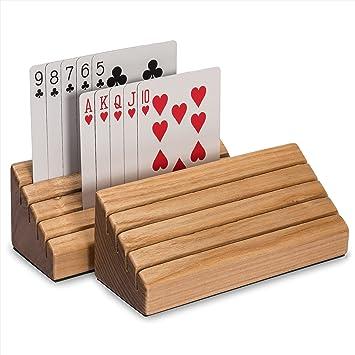 Amazon.com: Solid Oak Wood Playing Card Holder / Rack / Organizer ...