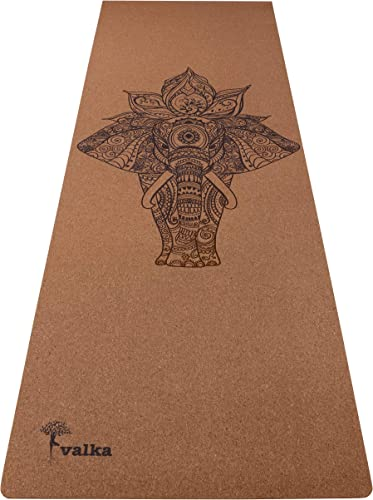 Cork Yoga Mat Non Slip, Eco Friendly Odor Free – Beautiful Designer Travel Yoga Mat with Carry Strap – Best Bikram Hot Yoga Mat – 72 x 24 – 4mm Thick