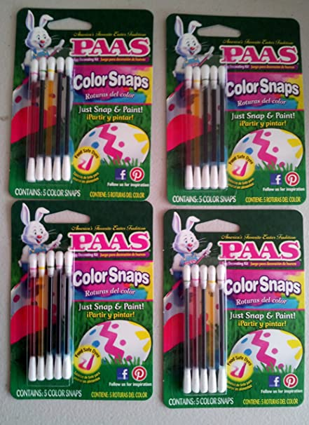 Amazon.com: No Mess Easter Egg Coloring Kit, PAAS COLOR SNAPS, (4 ...