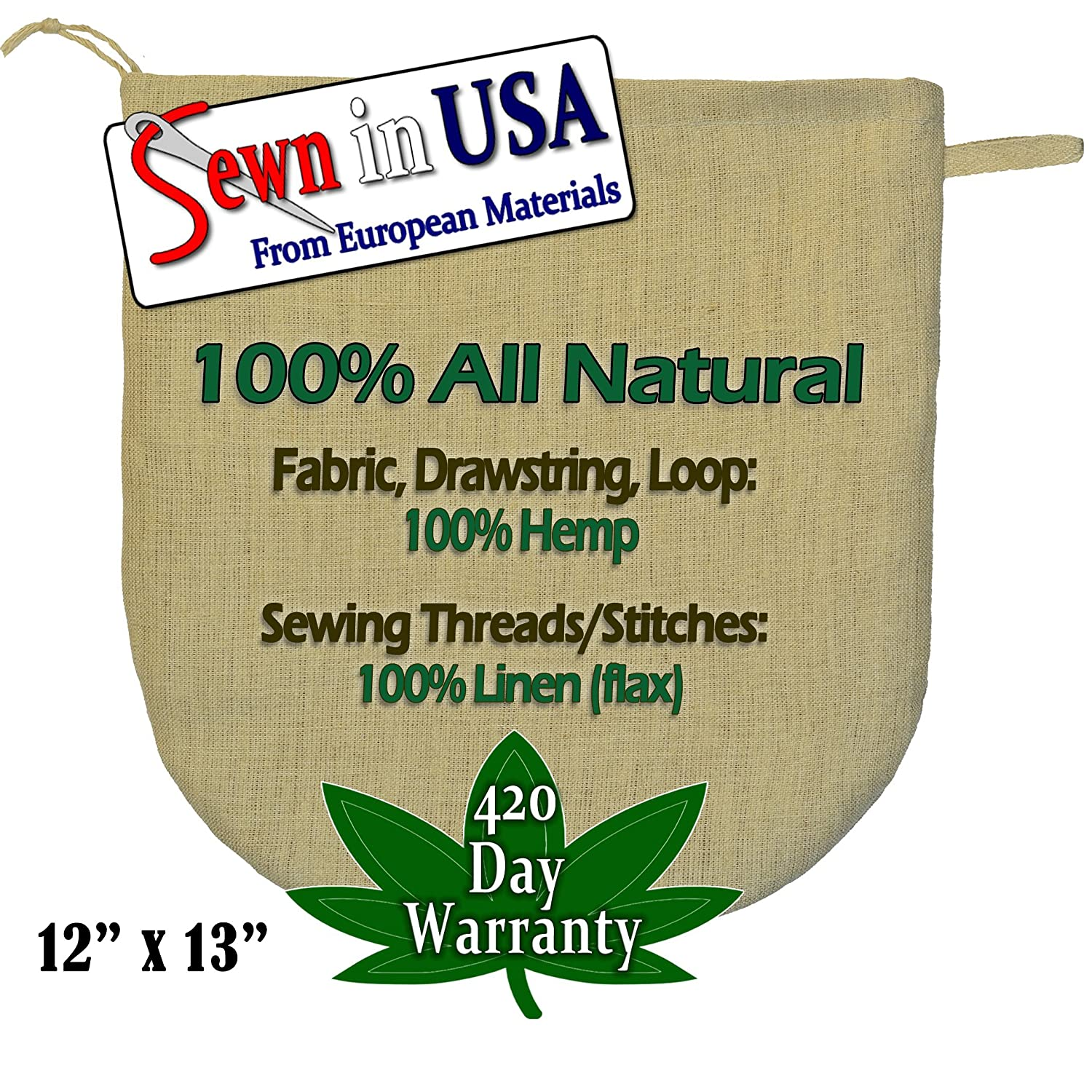 "12""x13"" European Hemp Nut Milk Bag / Sprouting Bag - All Materials 100% Natural.Read our: Fake Organic Warning!"