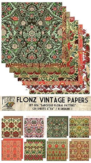 Paper Pack (24blatt 15x15cm) Baroque Arabesque FLONZ Vintage Muster ...