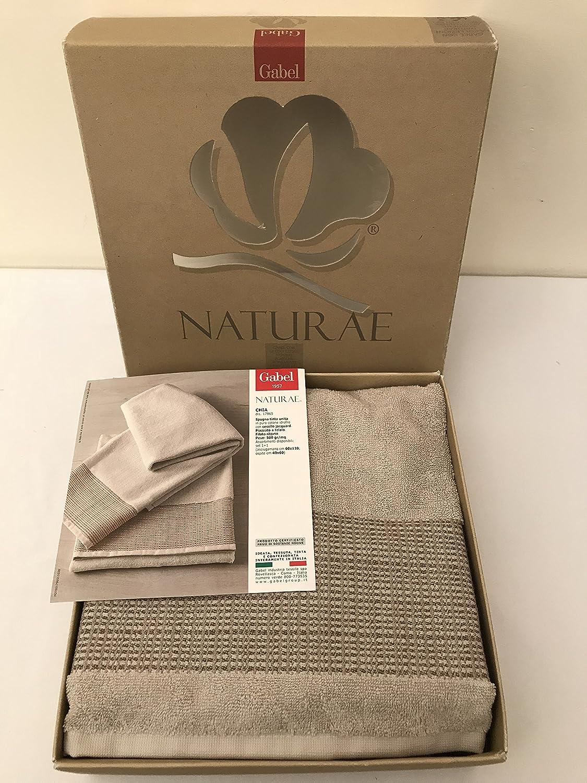 Coppia asciugamano e ospite di spugna Gabel Naturae Chia