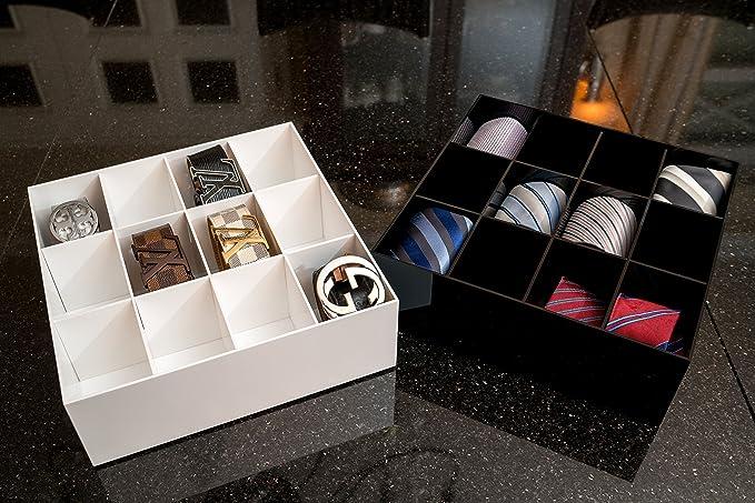Farbe Schwarz Estellani/® G/ürtelbox//Krawattenbox G/ürtelaufbewahrung Acryl gl/änzend Krawattenaufbewahrung