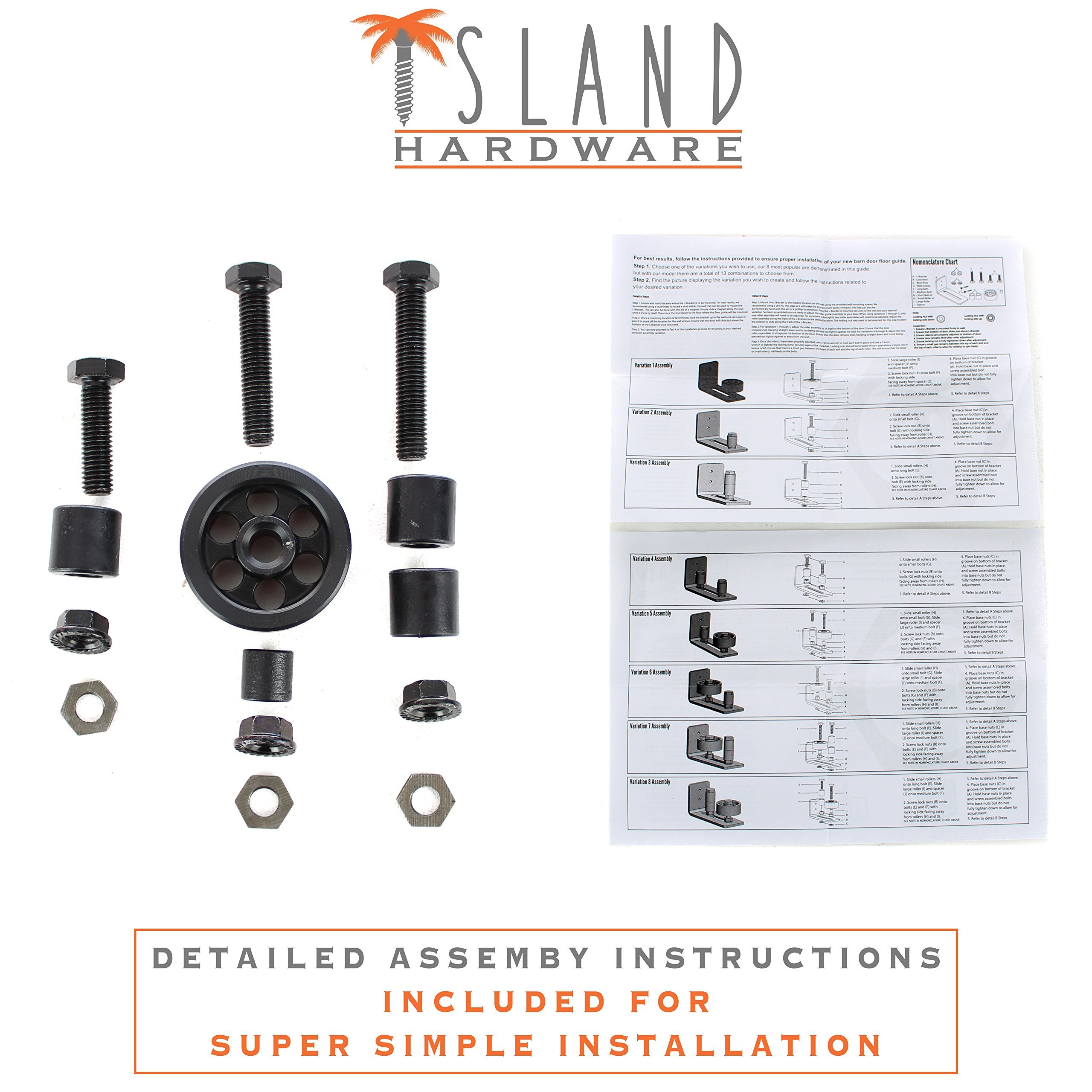 Ultimate Barn Door Floor Guide - Adjustable Sliding Channel & Stay Roller by Island Hardware with 13 Different Setups - Premium Black Finish, Wall Mounted & Flush to Floor, Fits All Barn Doors by Island Hardware (Image #8)