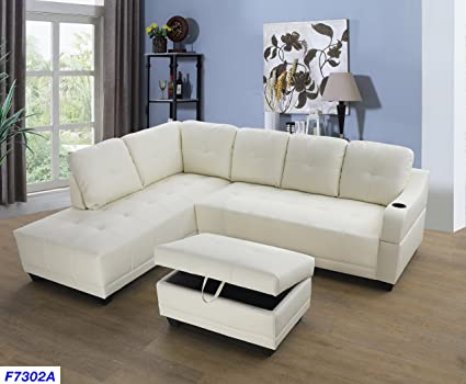 Beverly Fine Funiture CT7302A Sectional Sofa Set, White