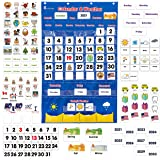 Calendar and Weather Pocket Chart for Kids Learning from Home and School, Homeschooling or Classroom for Teachers, Essential
