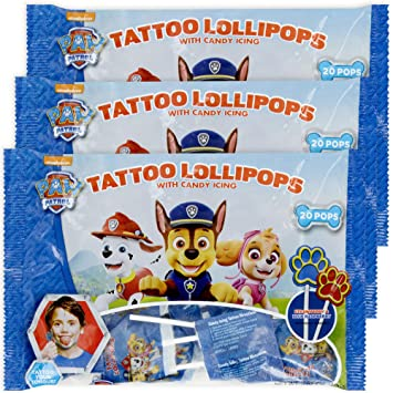 Amazon Com Paw Patrol Tongue Tattoo Lollipops With Candy Icing