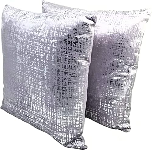 PRINCESS PILLOWS, 2 Pack, SW2-503, 16 X 16 INCHES, Velvet Metallic Lavender Silver FOIL Cushion Sofa Couch Accent Throw Pillow