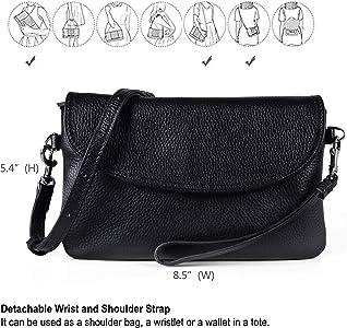 Full Grain Leather Wristlet Clutch Wallet Phone Crossbody Wallet Purse with  Detachable Shoulder Strap 84e0bbd7e34d1