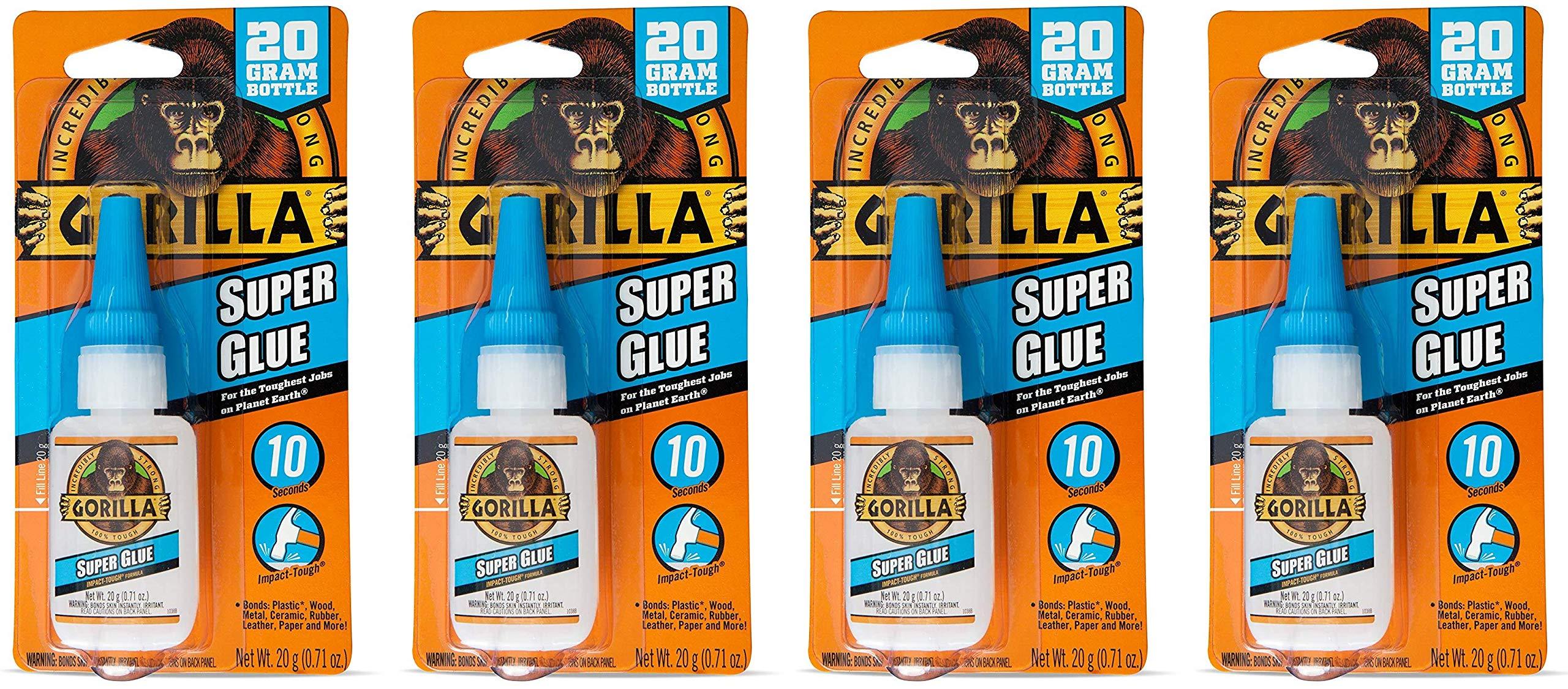 Gorilla Super Glue, 20 Gram, Clear (Original Version, Fоur Paсk)