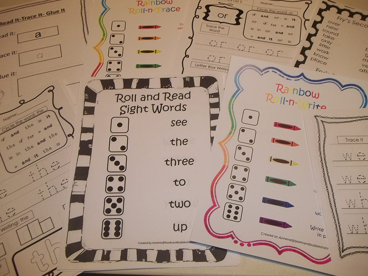 267 Bulk Printed Preschool and Kindergarten Sight Word Worksheets.