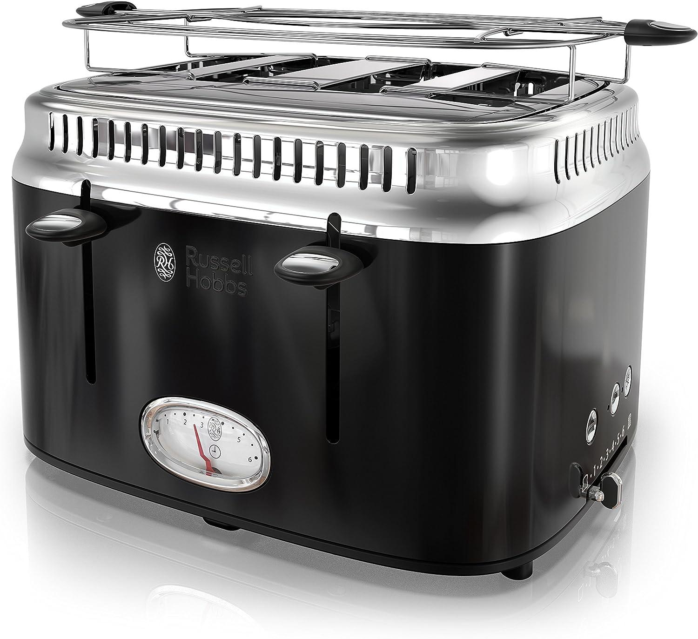 Russell Hobbs 4-Slice Retro Style Toaster, Black & Stainless Steel, TR9250BKR