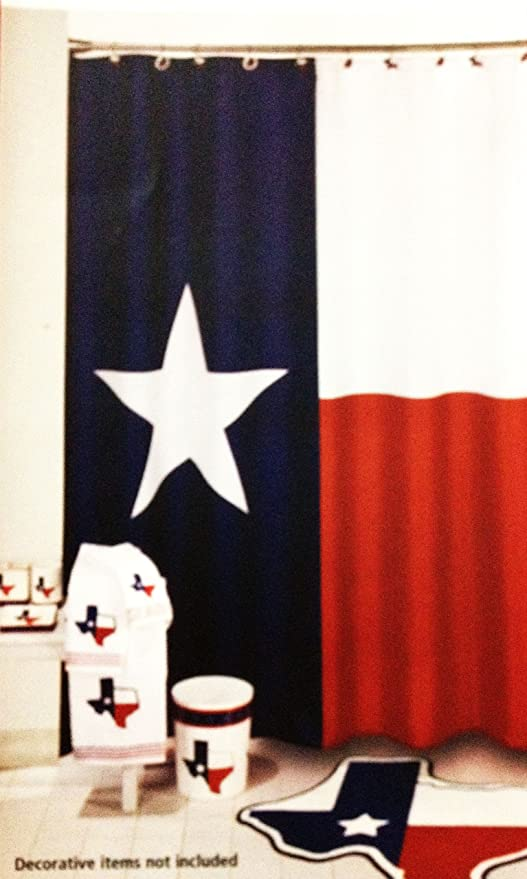 Texas Lone Star State Flag Polyester Bathroom Shower Curtain New
