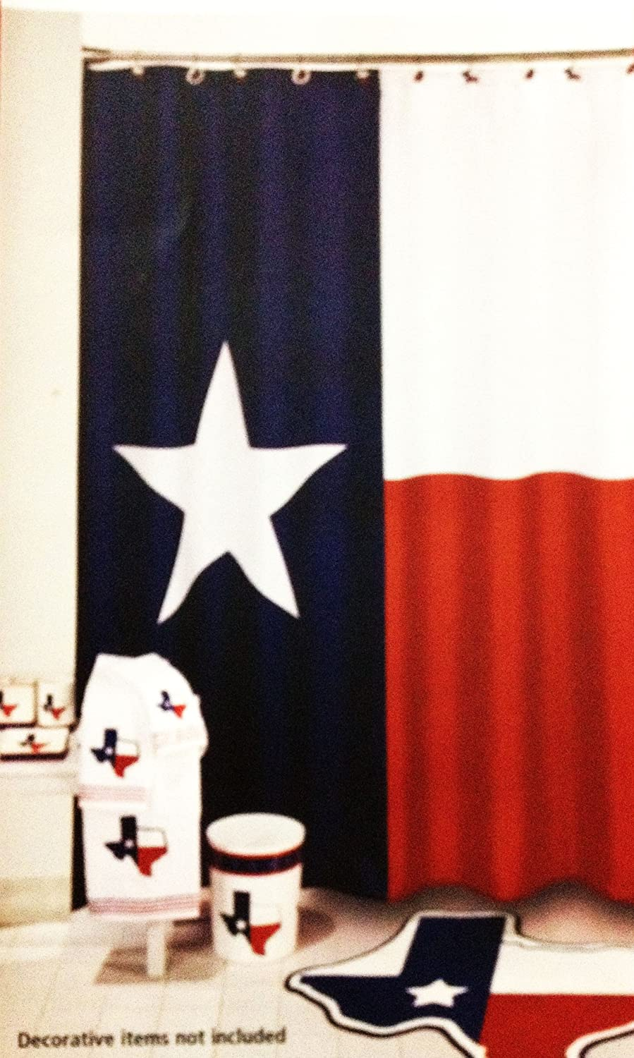 Amazoncom Texas Flag Lone Star Fabric Shower Curtain Home Kitchen - Texas bathroom decor for small bathroom ideas