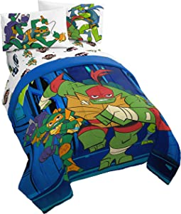 Jay Franco Nickelodeon Teenage Mutant Ninja Turtles Night Run 4 Piece Twin Bed Set - Bedding Features Donatello, Leonardo, Michelangelo, and Raphael - (Official Nickelodeon Product)