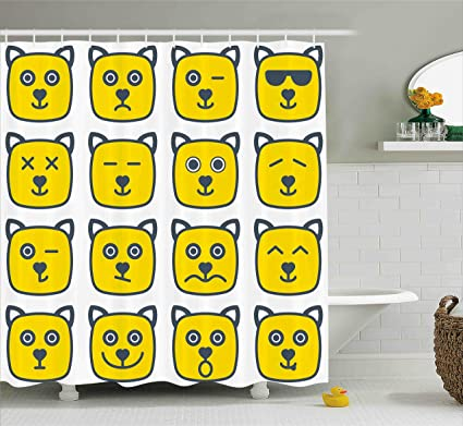 Ambesonne Emoji Shower Curtain Cat Dog Like Animal Smiley Face With Expressions Angry Happy Sad