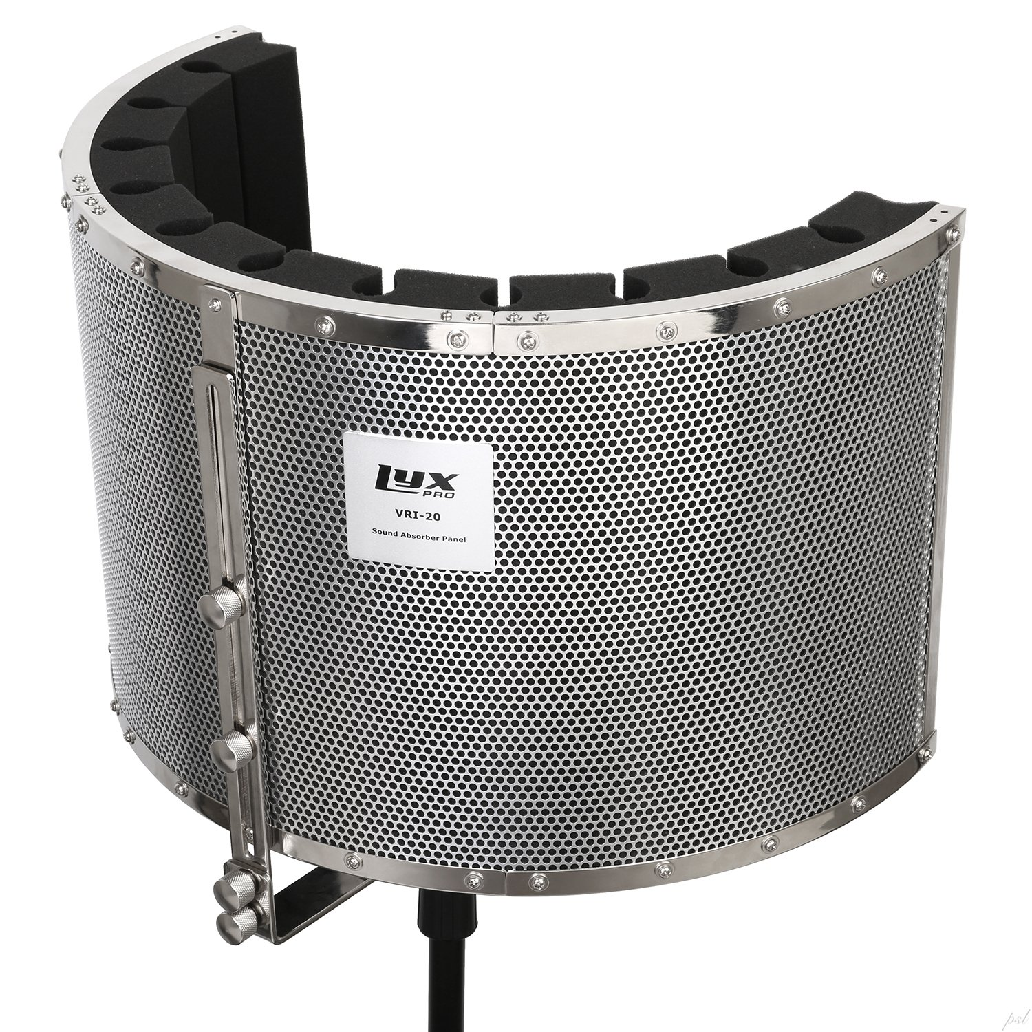 LyxPro VRI-20 Portable Acoustic Foam Isolation Microphone Shield, Sound Absorbing, Vocal Recording Panel, High Performance - Stand Mount by LyxPro