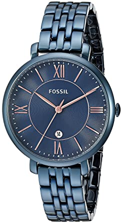 4db607f20 Image Unavailable. Image not available for. Colour: Fossil Jacqueline  Analog Blue Dial Women's Watch ...