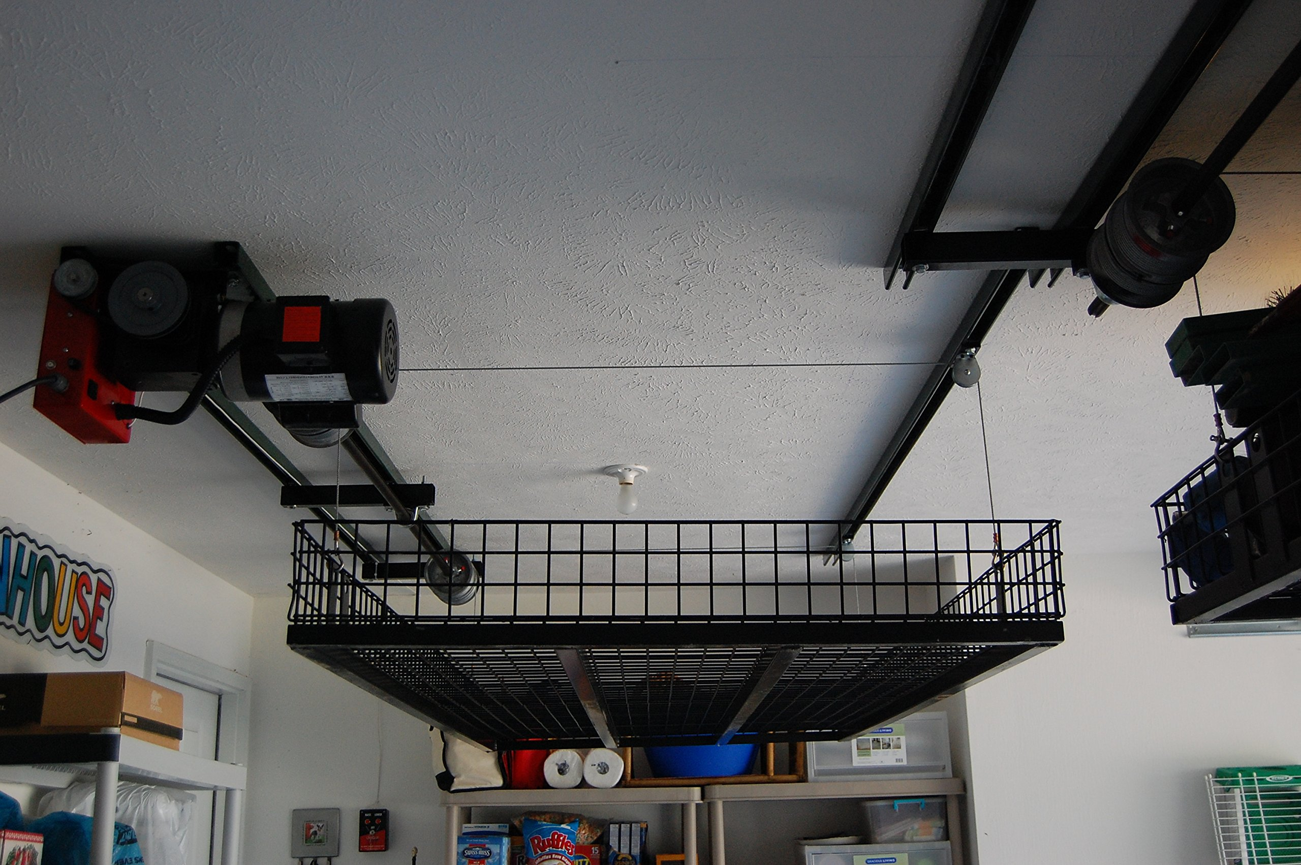 Ceiling Storage Lift Raises 500 Pounds of Your Items to Ceiling of Garage, Huge Space Saver, No Ladder Needed, Raises to 16 Feet, Powered by Strong Electric Motor, Durable Steel Construction