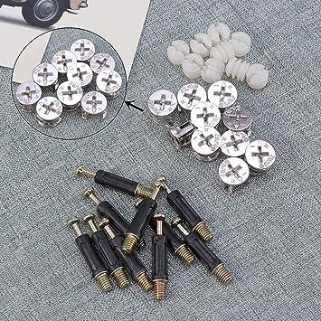 20 juegos de tornillos de fijaci/ón para muebles de 15 mm con tuerca preinsertada y cubierta decorativa para armario o caj/ón