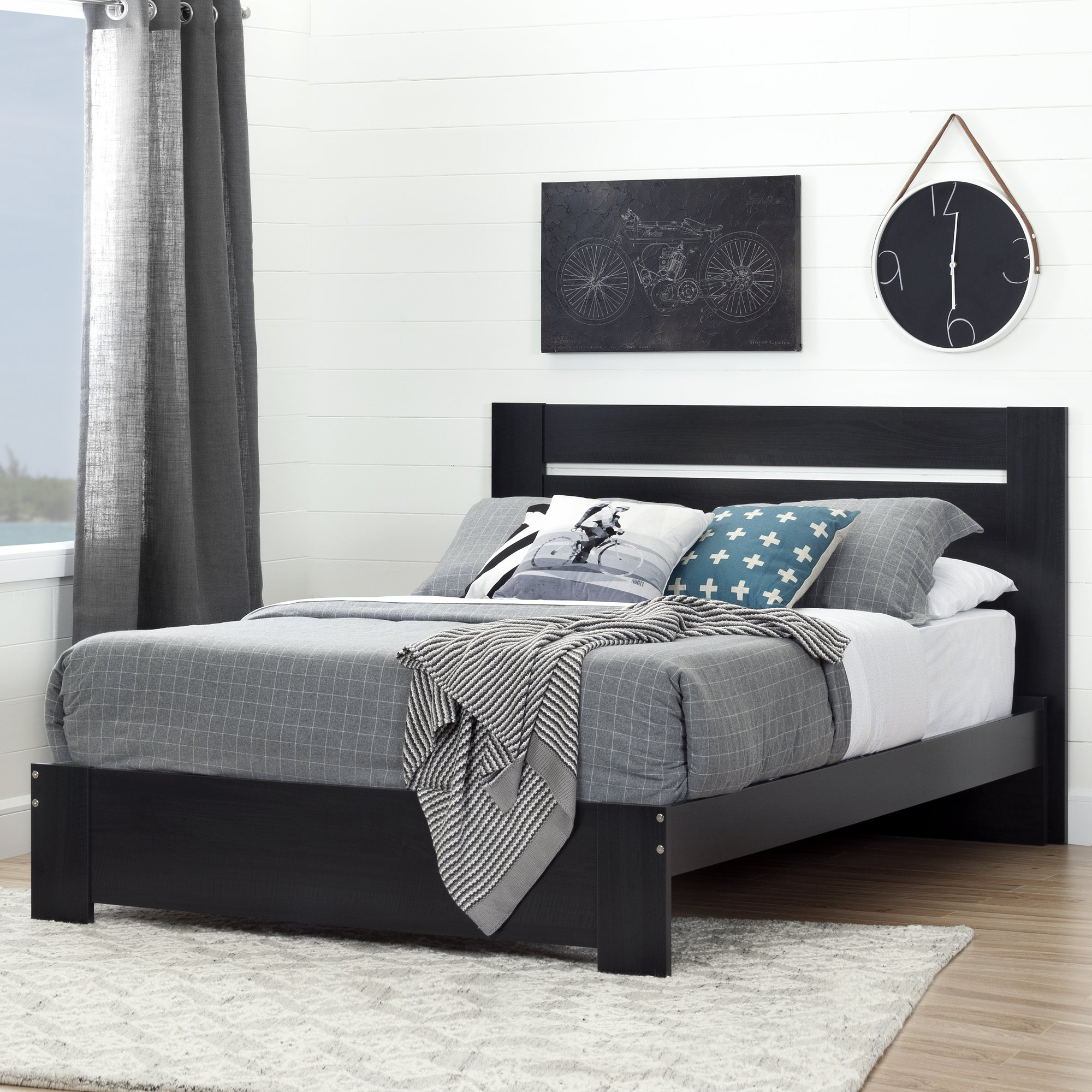 South Shore Reevo Full/Queen Headboard (54/60''), Black Onyx by South Shore (Image #4)
