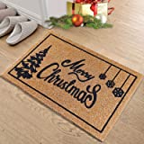 OurWarm Christmas Door Mat Outdoor Welcome Mat for Front Door, Merry Christmas Doormat with Non-Slip PVC Backing, 30'' x 17''