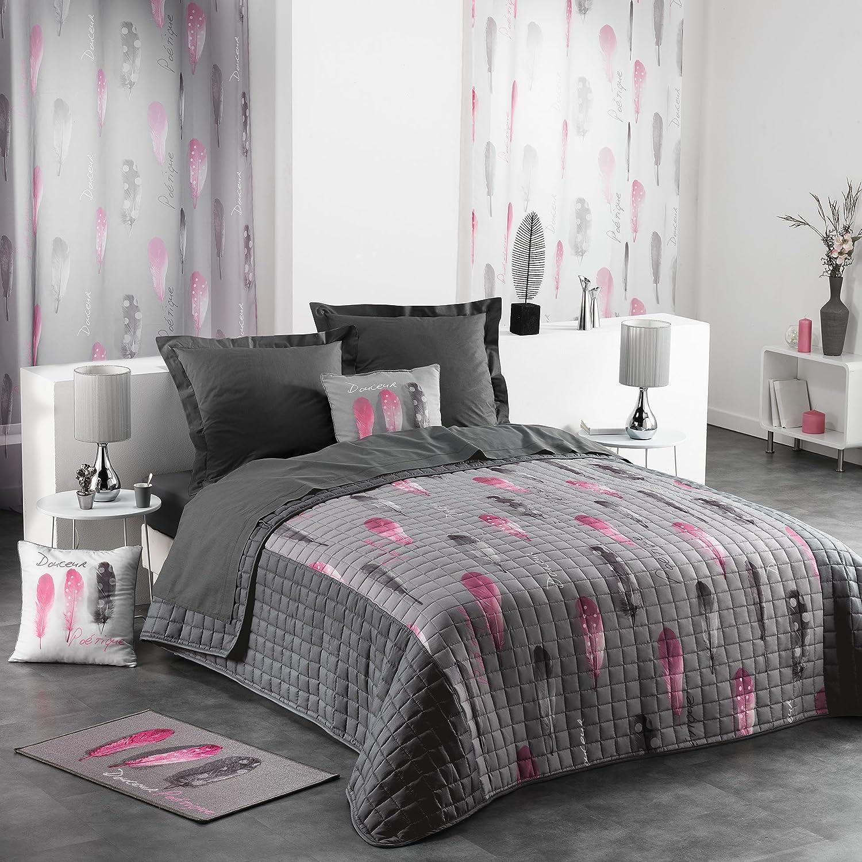 couvre lit rose et gris Douceur d'Intérieur POETIQUE Couvre Lit Matelassé Microfibre  couvre lit rose et gris