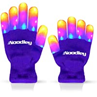 The Noodley Flashing LED Finger Light Gloves with Extra Batteries - Kid Sized Ages 4-7 (Small, Purple)