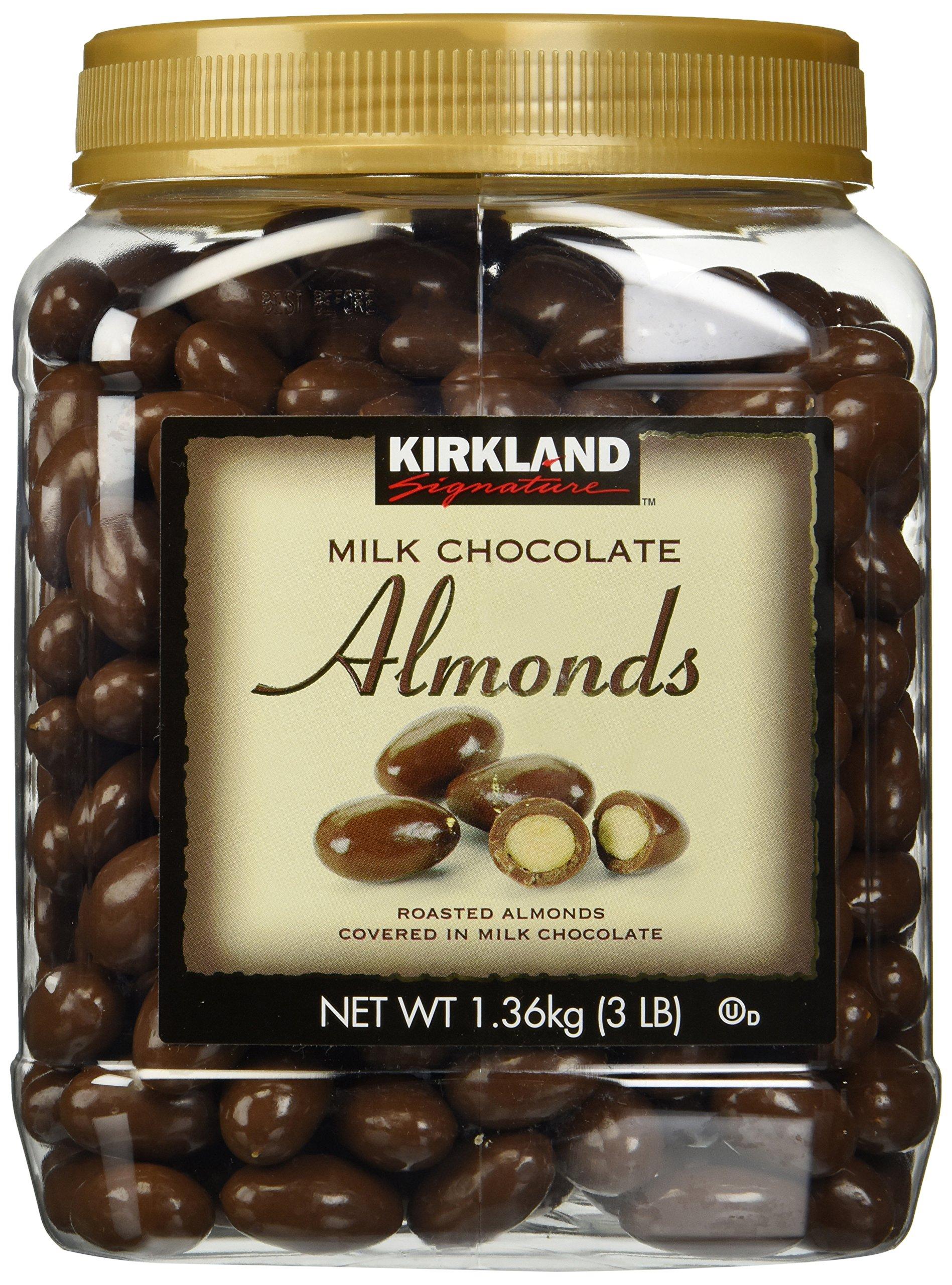 Kirkland Signature Milk Chocolate Roasted Almonds 3 LBS (48 Oz) JAR
