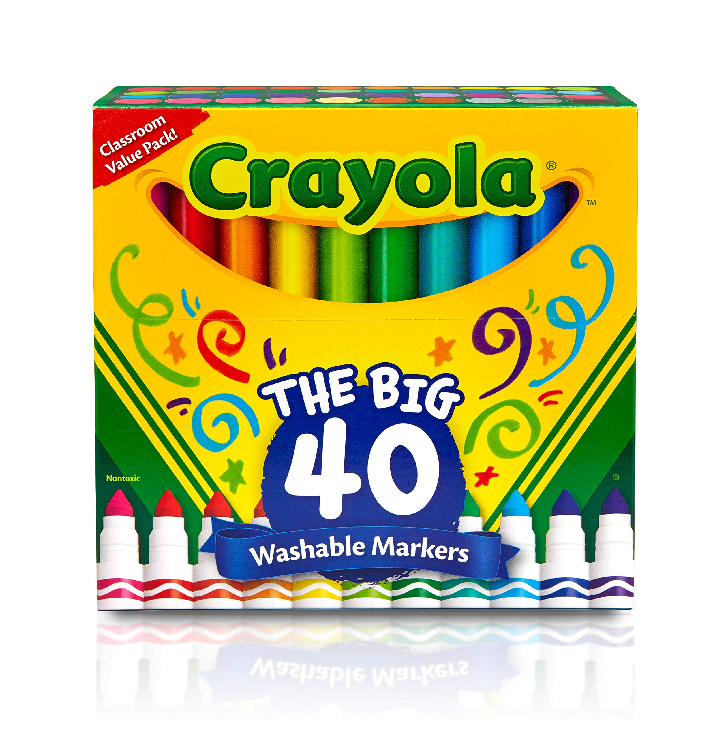 Crayola Ultra Clean Washable Broad Line Markers, 40 Classic Colors, Gift For Kids by Crayola